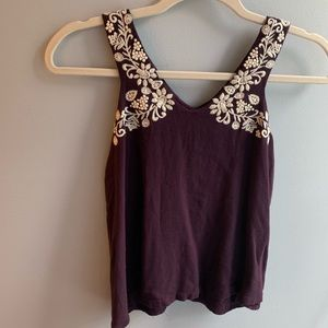 Embroidered Open Back Tack Top